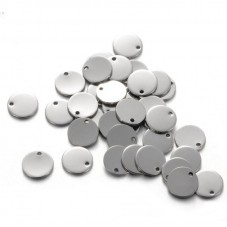 5 Breloques Médaille Tag en Acier Inoxydable 10mm