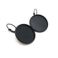 1 Paire de Support Boucle d'Oreille Noire pour Cabochon 20mm pour la Création de Bijoux Fantaisie - DIY
