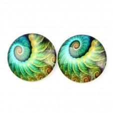 2 Cabochons en Verre Illustrés Spirale 12mm pour la Création de Bijoux Fantaisie - DIY
