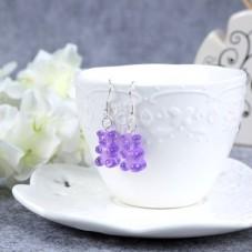 Boucles d'Oreilles Nounours 17mm Violet