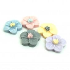 5 Cabochons Mini Fleurs en Résine 11mm