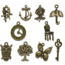 10 Breloques Mixte Bronze pour la Création de Bijoux Fantaisie - DIY
