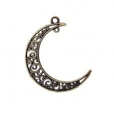 2 Breloques Lune Ajourée Double anneau Bronze 32x38mm pour la Création de Bijoux Fantaisie - DIY