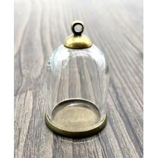 Globe en Verre avec Socle et Attache Bronze 30x20mm pour la Création de Bijoux Fantaisie - DIY
