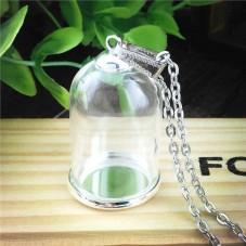 Globe en Verre avec 70 cm de Chaîne Socle et Attache Argentés 28x18mm pour la Création de Bijoux Fantaisie - DIY