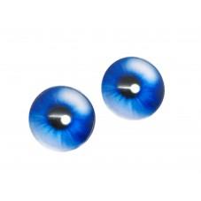 2 Cabochons en Verre Illustrés Oeil Yeux Bleu Foncé 12mm pour la Création de Bijoux Fantaisie - DIY