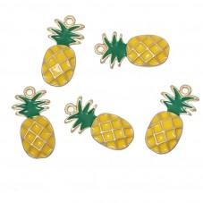 2 Breloques en Émail Fruit Ananas 23x12mm pour la Création de Bijoux Fantaisie - DIY