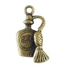 4 Breloques Bouteille de Parfum Bronze 20x10mm pour la Création de Bijoux Fantaisie - DIY