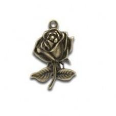 4 Breloques Rose Fleur Bronze Thème Alice au Pays des Merveille 25.5x17.5mm pour la Création de Bijoux Fantaisie - DIY