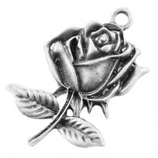 4 Breloques Rose Fleur Argenté Thème Alice au Pays des Merveilles 25.5x17.5mm pour la Création de Bijoux Fantaisie - DIY