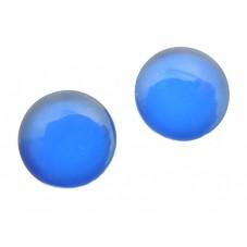 2 Cabochons en Verre Illustrés Uni Bleu 12mm pour la Création de Bijoux Fantaisie - DIY