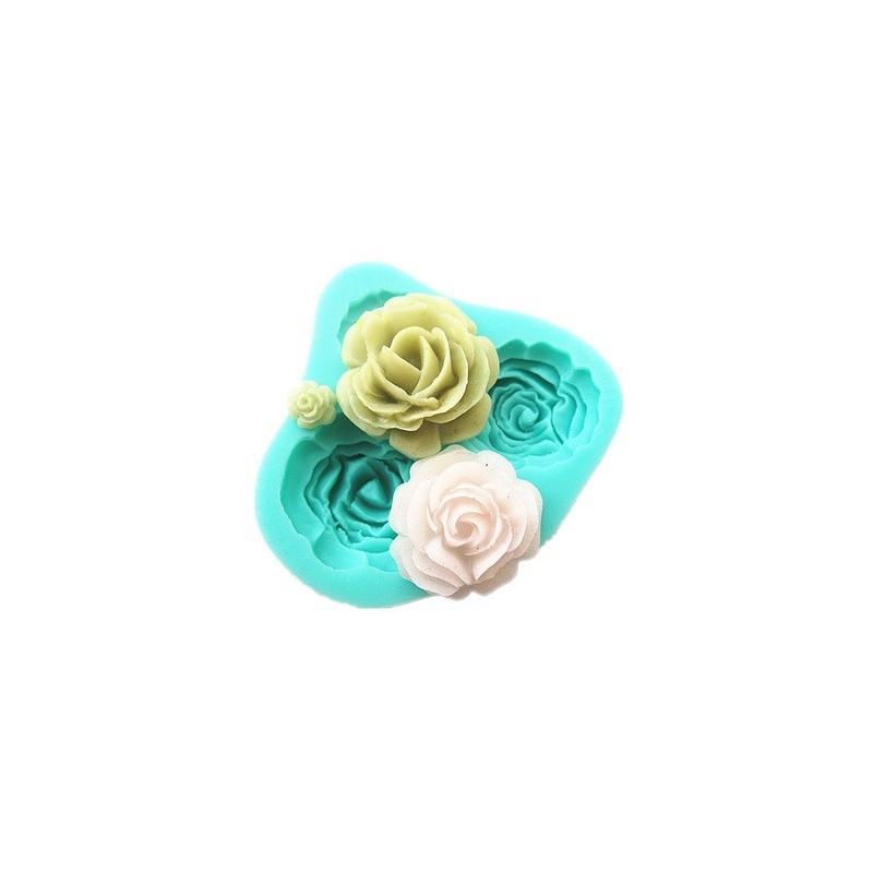 Moule en Silicone Fleurs Roses 4 Tailles Fimo Résine Gâteau