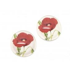 2 Cabochons en Verre Illustrés Fleur Coquelicot 12mm pour la Création de Bijoux Fantaisie - DIY