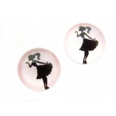 2 Cabochons en Verre Illustrés Princesse 12mm pour la Création de Bijoux Fantaisie - DIY