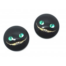 2 Cabochons en Verre Illustrés Chat du Cheshire Alice 12mm