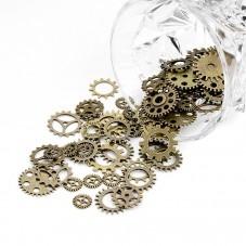 5 Breloques Rouage Engrenage Horlogerie Bronze Thème Alice au Pays des Merveilles pour la Création de Bijoux Fantaisie - DIY