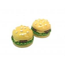 2 Cabochons Hamburger Miniature 17mm pour la Création de Bijoux Fantaisie - DIY