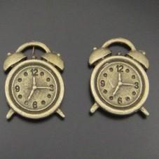 4 Breloques Réveil Horloge Bronze Thème Alice au Pays des Merveilles  18x13mm pour la Création de Bijoux Fantaisie - DIY