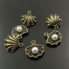 4 Breloques Coquillage Perle Bronze 15mm pour la Création de Bijoux Fantaisie - DIY