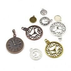 5 Breloques Horloge Thème Alice au Pays des Merveilles pour la Création de Bijoux Fantaisie - DIY