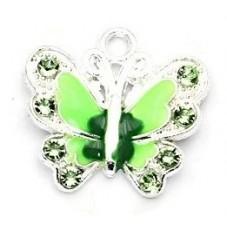 2 Breloques Papillon Vert Émaillé à Strasser 22mm pour la Création de Bijoux Fantaisie - DIY