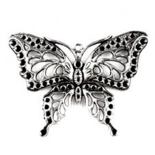 Grande Breloque Papillon Argenté 48x60mm pour la Création de Bijoux Fantaisie - DIY