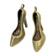 2 Breloques Chaussure à Talon Bronze 25x8mm pour la Création de Bijoux Fantaisie - DIY