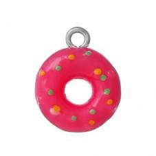 2 Breloques Donuts Fuchsia 17.5x14mm pour la Création de Bijoux Fantaisie - DIY