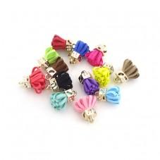 5 Breloques Pompon Multicolore 23mm pour la Création de Bijoux Fantaisie - DIY