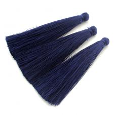 2 Longs Pompons Bleu Nuit 6.5cm pour la Création de Bijoux Fantaisie - DIY
