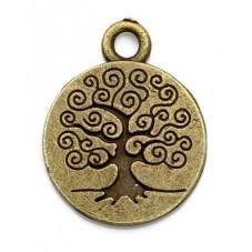 4 Breloques Arbre de Vie Bronze 18mm pour la Création de Bijoux Fantaisie - DIY