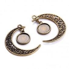 2 Supports Pendentif Breloque Lune Bronze pour Cabochon 12mm pour la Création de Bijoux Fantaisie - DIY