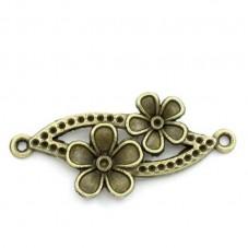 2 Connecteurs Fleur Bronze 3,7x1,5cm pour la Création de Bijoux Fantaisie - DIY