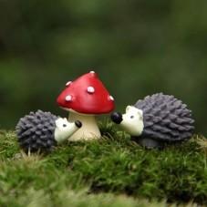 3 Cabochons Figurine Miniature Hérisson et Champignon en Résine Déco Globe pour la Création de Bijoux Fantaisie - DIY