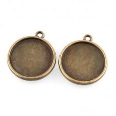 4 Supports Pendentif Bronze Double Face pour Cabochon 14mm pour la Création de Bijoux Fantaisie - DIY