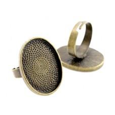 Support Bague Ajustable Bronze pour Cabochon 18x25mm pour la Création de Bijoux Fantaisie - DIY