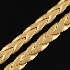 1 Mètre de Cordon Cuir Véritable Tressé Doré 5mm pour la Création de Bijoux Fantaisie - DIY