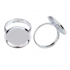 2 Supports Bague Ajustable Argentée pour Cabochon 14mm pour la Création de Bijoux Fantaisie - DIY