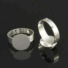 5 Supports Bague Ajustable Argentée 12mm pour la Création de Bijoux Fantaisie - DIY