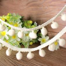 1 Mètre de Ruban Pompon Ecru 22mm pour la Création de Bijoux Fantaisie - DIY
