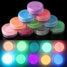10 Boites de Poudre Phosphorescente et Fluorescente 3g