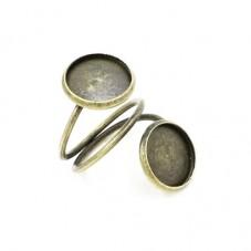Support Bague Double Bronze pour Cabochon 12mm pour la Création de Bijoux Fantaisie - DIY