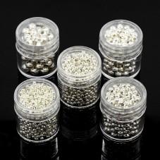 5 Boîtes de Perles Intercalaires Argentées - 5 Tailles