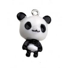 2 Breloques Pandas en Résine 23mm pour la Création de Bijoux Fantaisie - DIY