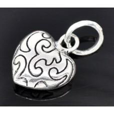 2 Breloques Coeur Argenté 24x15mm pour la Création de Bijoux Fantaisie - DIY