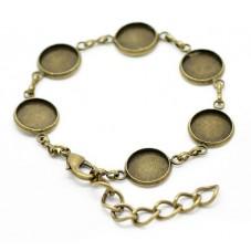 Support Bracelet Bronze pour Cabochon 12mm pour la Création de Bijoux Fantaisie - DIY
