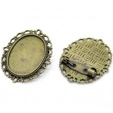 Support Broche Bronze pour Cabochon 18x25mm