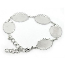Support Bracelet Argenté pour Cabochon 18x25mm pour la Création de Bijoux Fantaisie - DIY