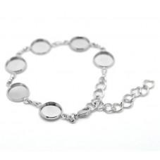 Support Bracelet Argenté Ajustable pour Cabochon 12mm pour la Création de Bijoux Fantaisie - DIY