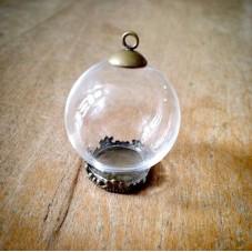 Support Globe en Verre avec Socle et Attache Bronze 20x15mm pour la Création de Bijoux Fantaisie - DIY